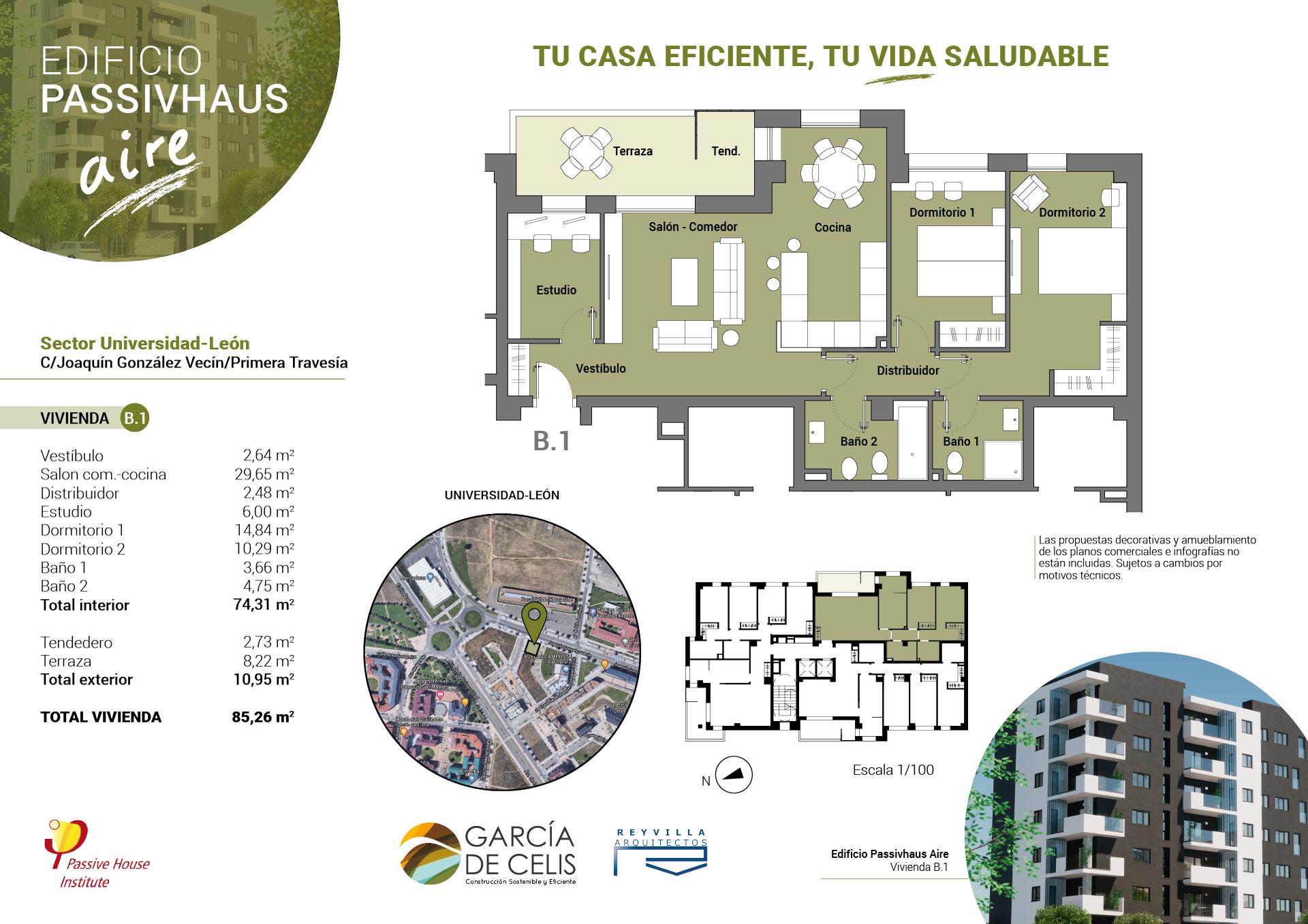 Plano vivienda B.1 - 2 dormitorios