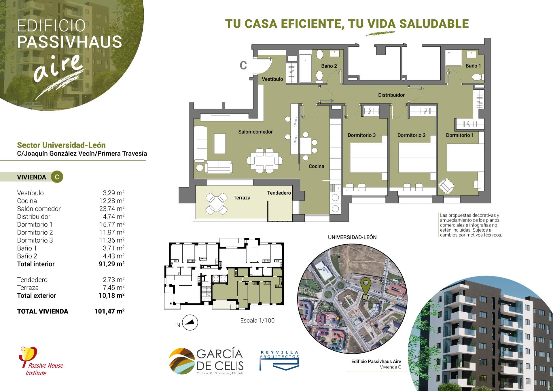 Plano vivienda C - 3 dormitorios